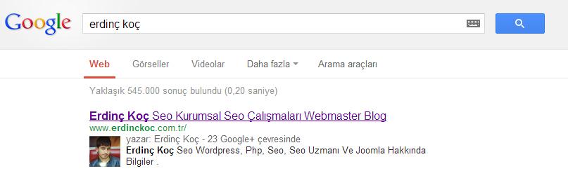 Google Plus Yazar Resmi